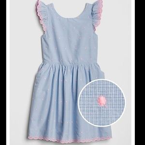 GAP Girls Blue Embroidered Dot Fit And Flare Dress